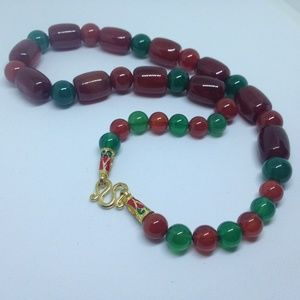 Jewelry - red/green agate bead necklace